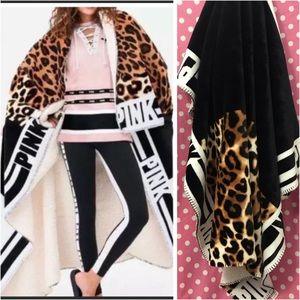 Pink Victoria's Secret cheetah Sherpa blanket